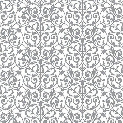 Silver Printed Tissue Brocade | 8 Ct. (Floral Gift Brocade)