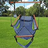 Kuyal Hanging Hammock Chair Deluxe Swing Outdoor Chair W/Pillow and Drink Holder for Backyard, Bedroom, Porch, Outdoor Camping Well-equipped S-shaped Hook (Blue)