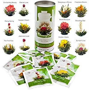 Teabloom Natural Blooming Tea Flowers - Biggest Variety of Flowering Tea in Beautiful Gift Canister - Fresh New Tea Flowers