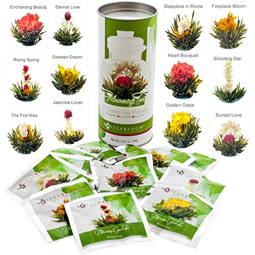 Flowers And Gifts (Teabloom Natural Blooming Tea Flowers - Biggest Variety of Flowering Tea in Beautiful Gift Canister - Fresh New Tea)