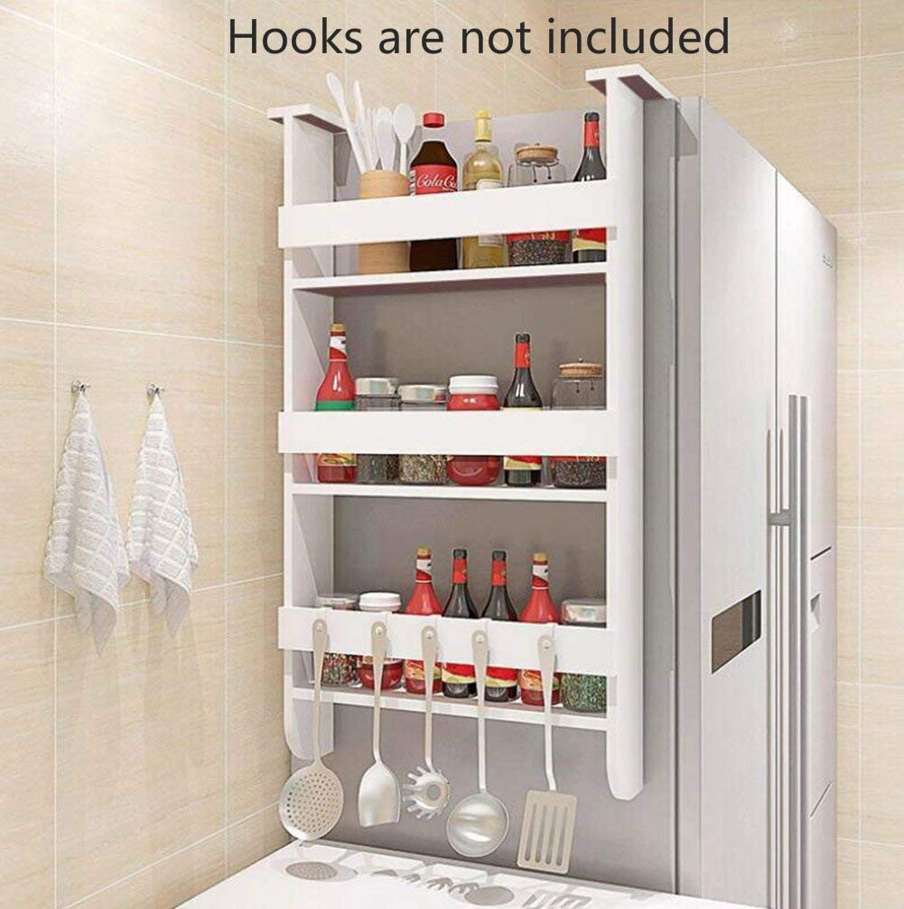 Rack Fridge Wood Organizer Refrigerator Side Storage Rack, Shelf Multifunction Space Organizer Sidewall Refrigerator Storage Shelf, 3 Tiers Kitchen Rack Spice Rack Kitchen Cabinet, White