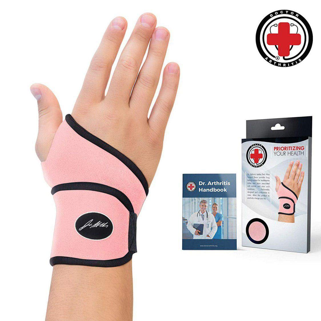 Doctor Developed Premium Ladies Pink Wrist Support/Wrist Strap/Wrist Brace/Hand Support [Single]& Doctor Written Handbook- Suitable for Both Right and Left Hands (Pink) by Dr. Arthritis