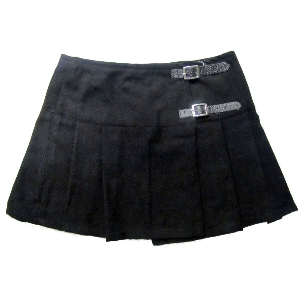 Ladies' Black 13 Inch Pleated Mini Skirt/Micro Mini Kilt - US 4