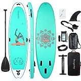 Soopotay Inflatable SUP Stand Up Paddle Board, Inflatable SUP Board, iSUP Package with All Accessories (Yoga-Aqua-10'8…