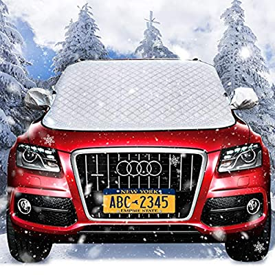 Kemaier Frost Car Windshield Snow Cover - Magnetic Edges Car Snow Cover, Frost Guard Protector, Ice Cover, Car Windsheild Sun Shade, Waterproof Windshield Protector Car/Truck/SUV