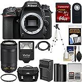 Nikon D7500 Wi-Fi 4K Digital SLR Camera Body 70-300mm DX AF-P Lens + 64GB Card + Battery & Charger + Case + Tripod + Flash + Kit