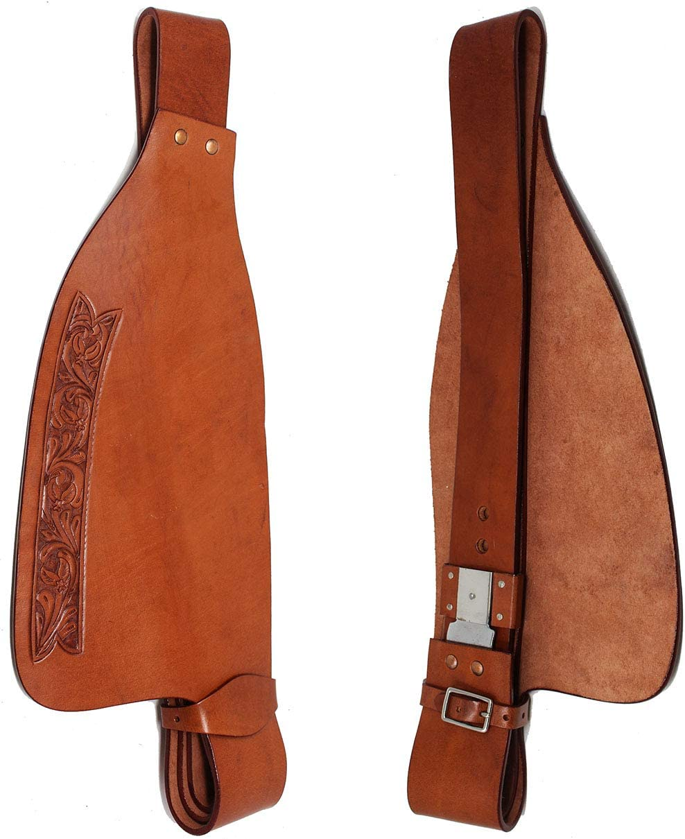 CHALLENGER Horse Western Adult Tooled Leather Replacement Saddle Fender Pair 5220DT