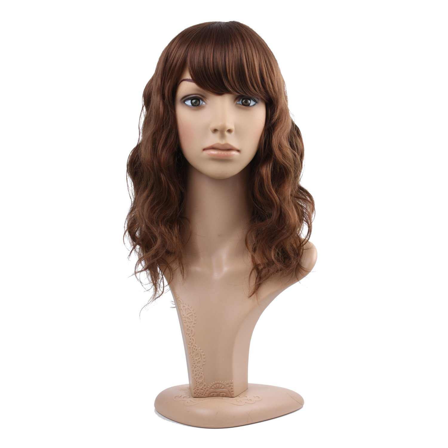 MelodySusie Mid-length Brown Curly Wig - Attractive Women Mid-length Layered Curly Wig with Free Wig Cap and Wig Comb (Light Reddish Brown)