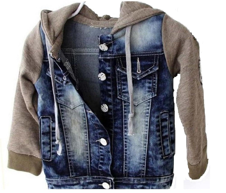 Boys Hooded Fleece Denim Jacket Age 2 to 7 Years: Amazon.co.uk ...