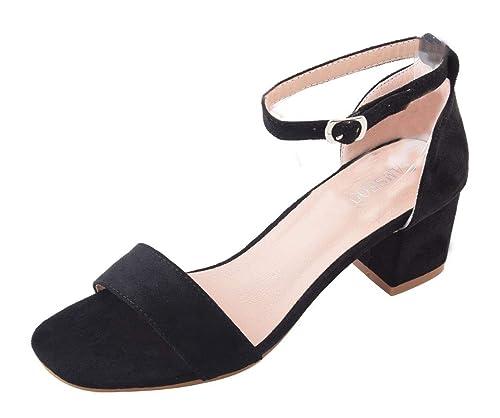 1b9ccc1315d63 Women s Classic Square Open Toe Strappy Ankle Buckle Sandals Low Block  Heels Court Shoes Black Faux