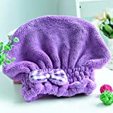 Wet Hair Dry/Drying Cap Towel Purple Turban Wrap Quick Dry Ultra...
