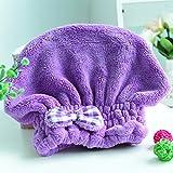 Wet Hair Dry/Drying Cap Towel Purple Turban Wrap Quick Dry Ultra...