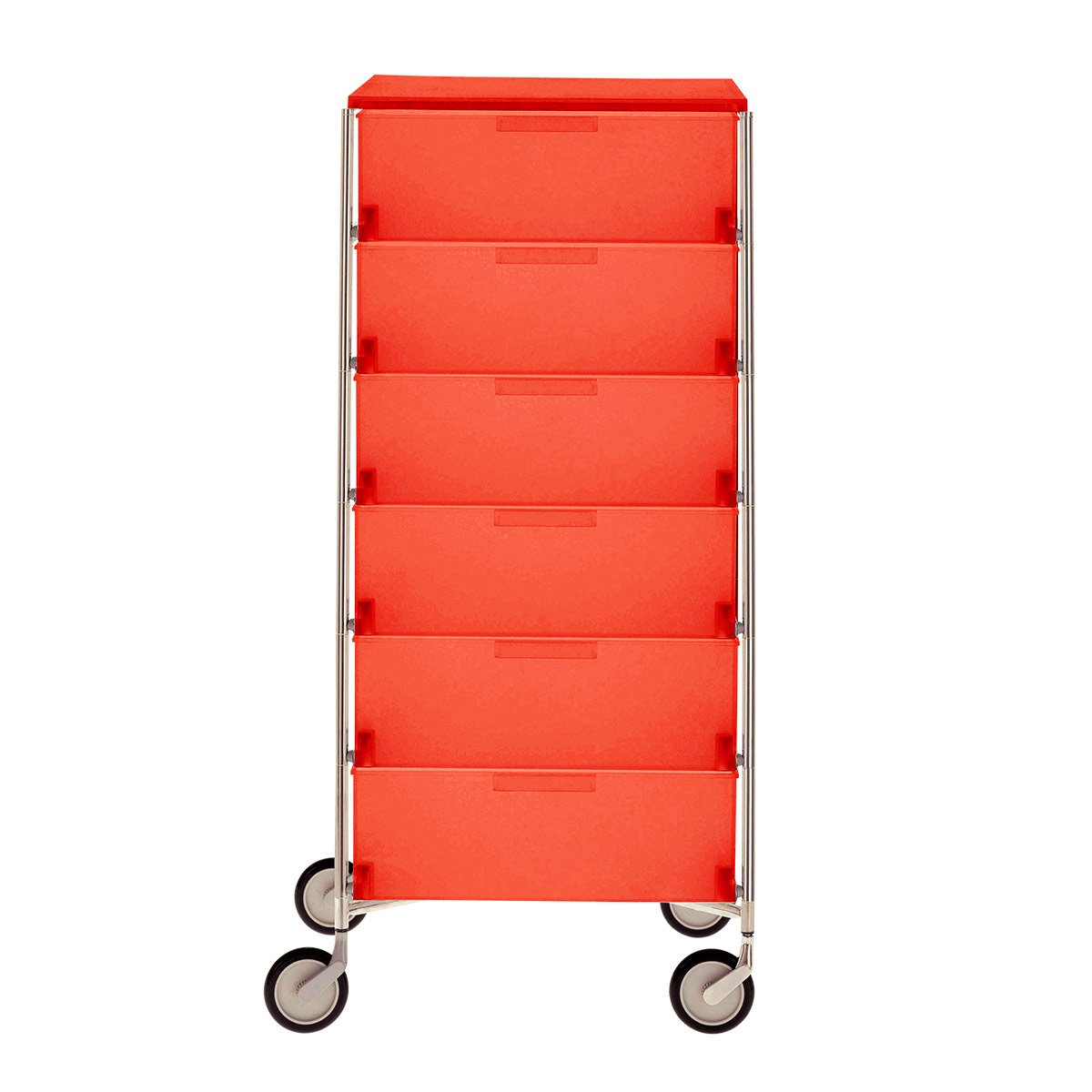 Kartell 2040L4 Container Mobil, 6 Schubladen, dunkelorange