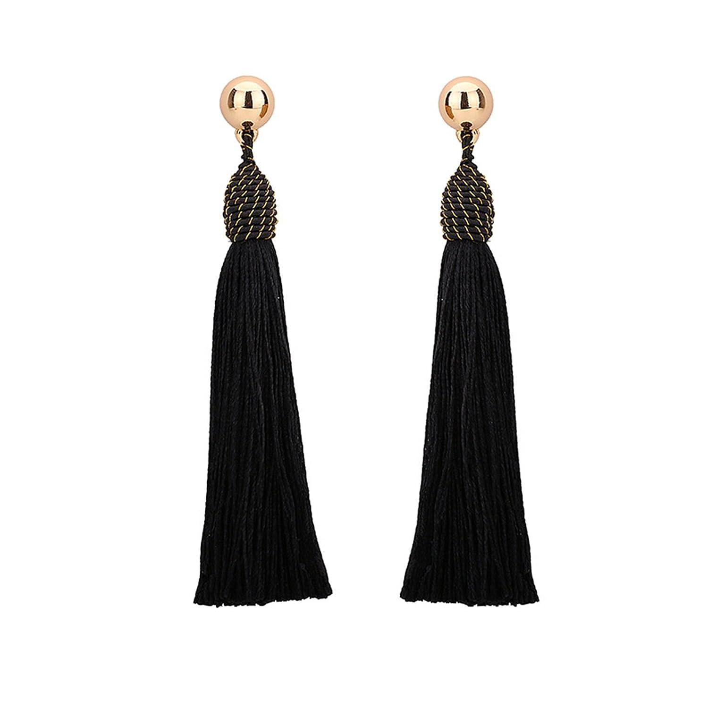 Bishilin Womens Earrings Gold Plated Tassel Anniversary Wedding Earrings Black