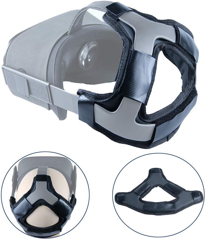 Esimen Head Pad for Oculus Quest Strap Cushion Headband Fixing Accessories, Gravity Pressure Balance Cushion Leather Foam (Black)