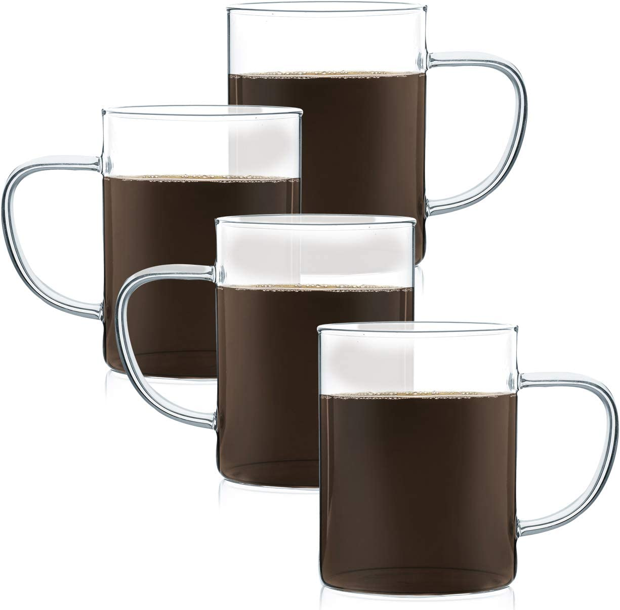 JavaFly Maurea Glass Mug 10.5 oz, 4 Pack, Clear