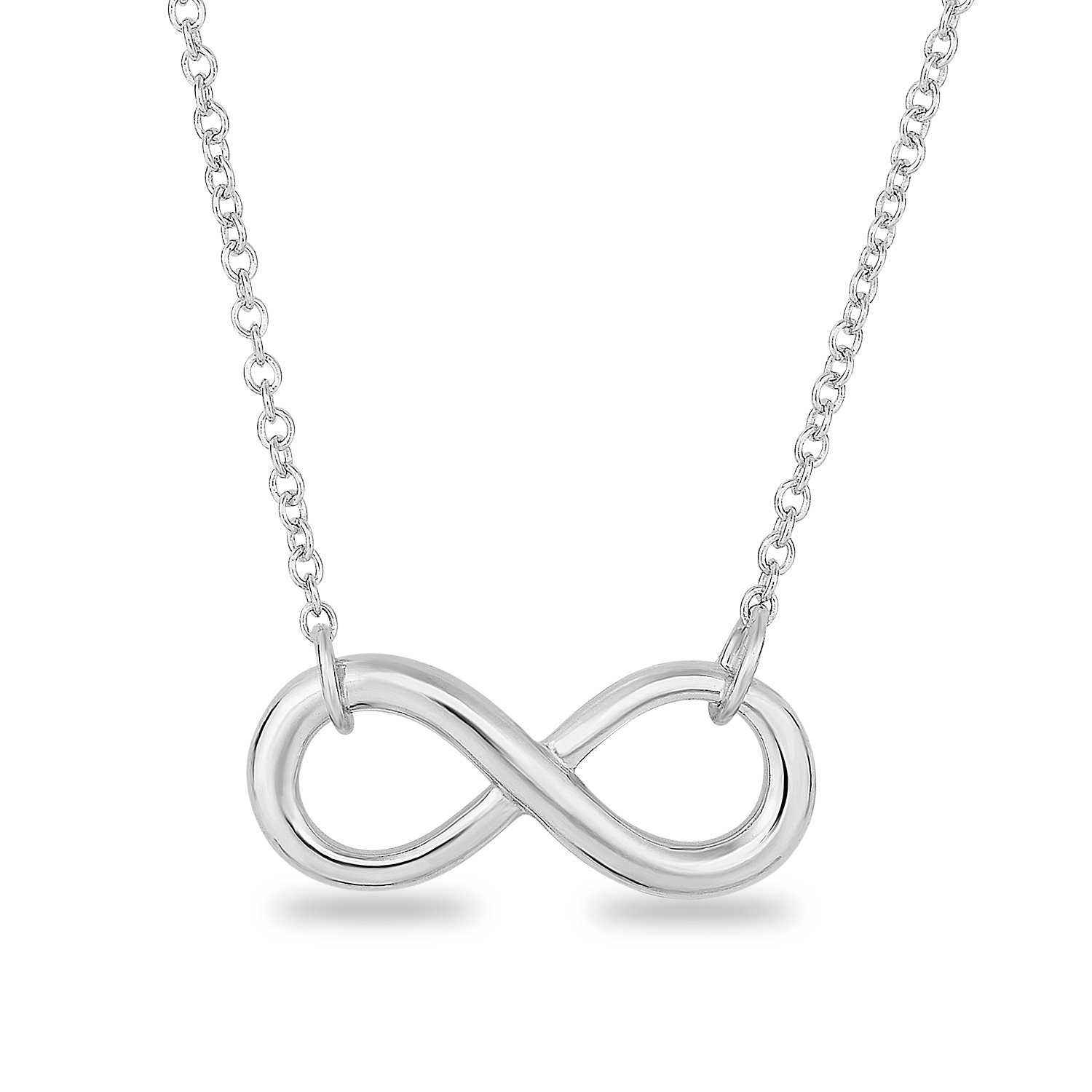 Spoil Cupid Rhodium-Plated Sterling Silver Plain Classic Infinity Symbol Chain Necklace,18\