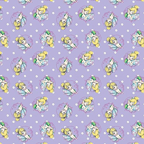 Disney Tinkerbell Toss in Purple 100% Cotton Fabric by The Yard