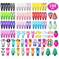 Hair Clips for Girls, Funtopia 100 Pcs No Slip Metal Snap Hair Clips Barrettes for Kids Teens Women, Cute Candy Color Cartoon Design Hair Pins (Animals Fruits Crowns Stars)