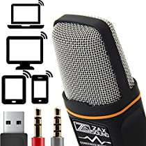 Professional Cardioid Condenser Microphone With Tripod Stand for PC, Laptop, iPhone, iPad, Android Phones, Tablets, xBox and YouTube Recording byZaxSound