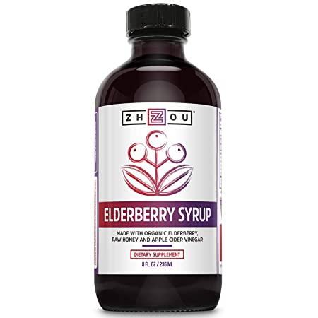 Zhou Nutrition Elderberry Syrup with Organic Elderberry, Raw Honey, Apple Cider Vinegar and Propolis, 17 Ounce