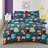 PATCHWORK OWLS BRANCHES TEAL CANADIAN TWIN (137CM X 198CM - UK SINGLE) DUVET COMFORTER COVER