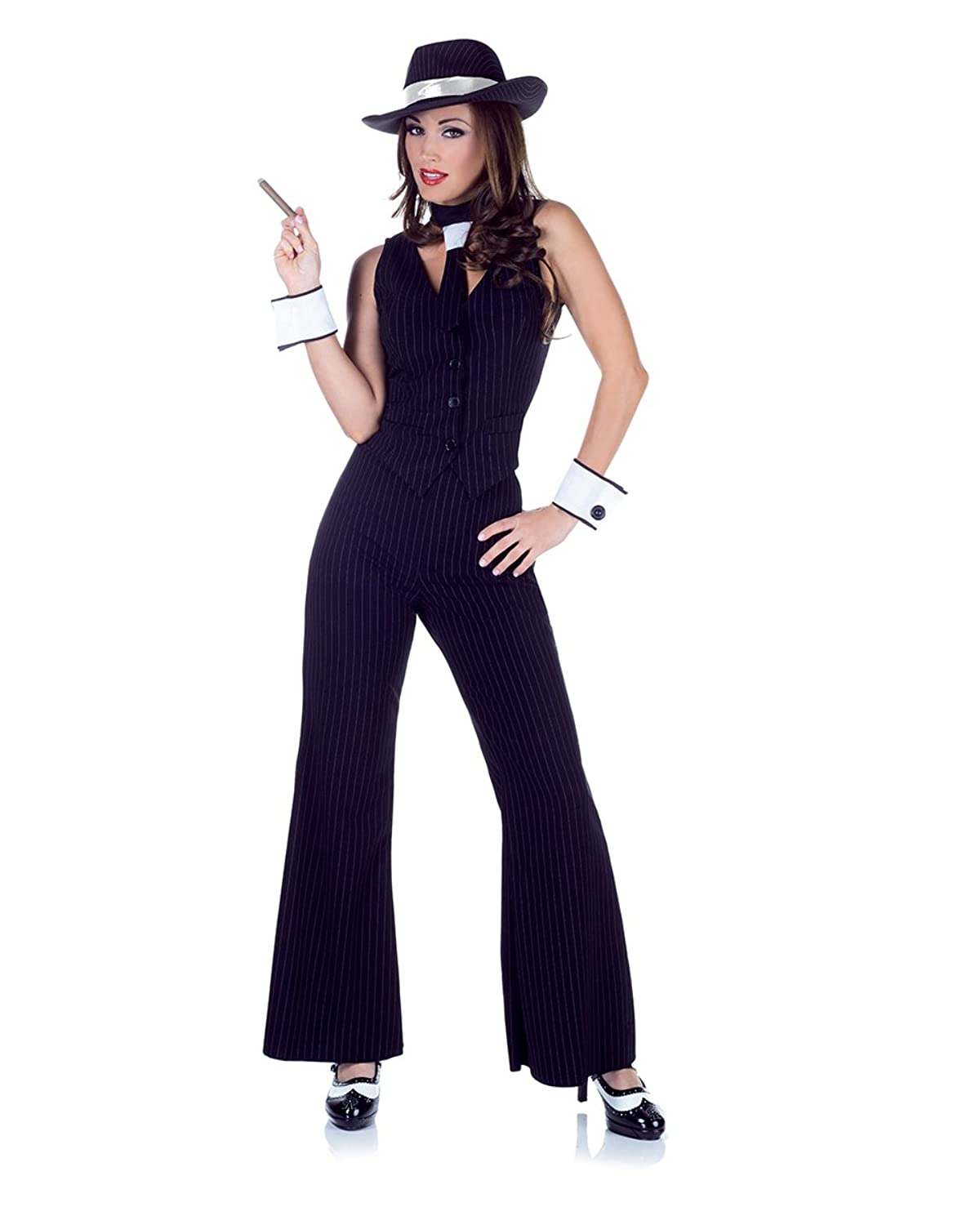 amazoncom underwraps costumes womens gangster costume bugsy clothing - Halloween Mobster Costumes
