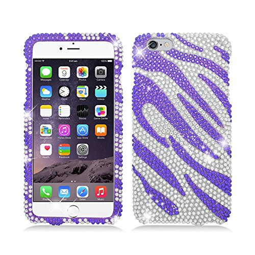 Aimo Wireless For Apple iPhone 6 plus (5.5 inch) Luxury Full Diamond, Zebra Purple+White