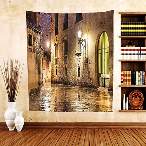 Gzhihine Custom tapestry Gothic Decor Collection Gothic Ancient Stone Quarter of Barcelona Spain Renaissance Heritage Gothic Night Street Photo Bedroom Living Room Dorm Tapestry Cream