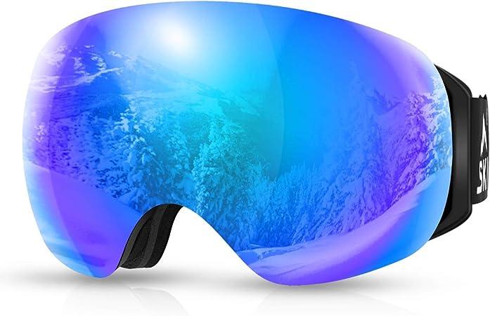 Imagen deSKL Gafas de esquí, Gafas de Snowboard OTG, Gafas de Nieve con Lente esférica Intercambiable magnética, Anti-Niebla y protección UV400 y Gafas compatibles con Casco para Esquiar