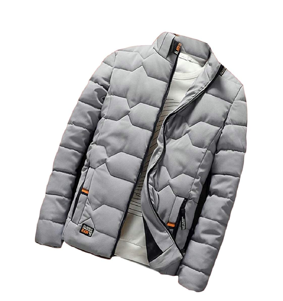 FLCH+YIGE Mens Quilted Thicken Stand Collar Warm Slim Front-Zip Down Jacket Coat