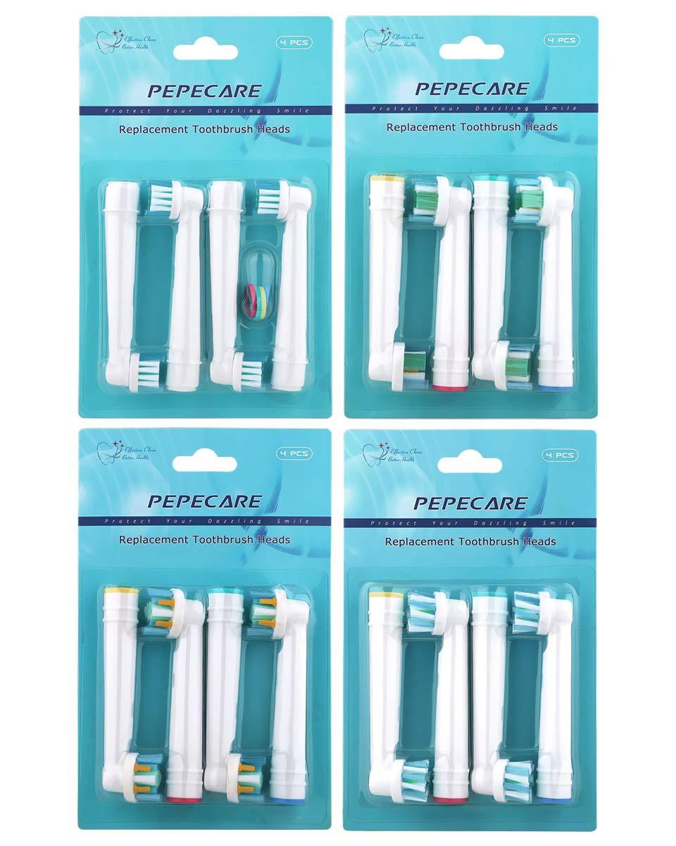 16 cabezales de repuesto para cepillos de dientes eléctricos Braun Oral B, incluye 4 piezas de limpieza de precisión, 4 piezas de acción de hilo dental, ...