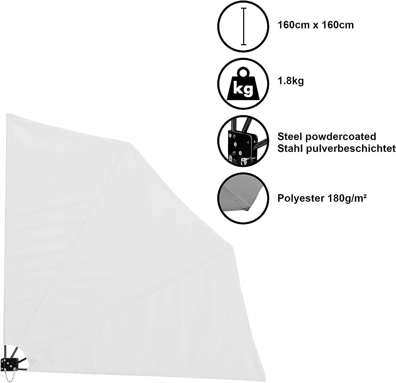 UnfadeMemory Tenda Laterale per Terrazza Pieghevole Forma Ventaglio Balcone Terrazza Crema 140x140 cm