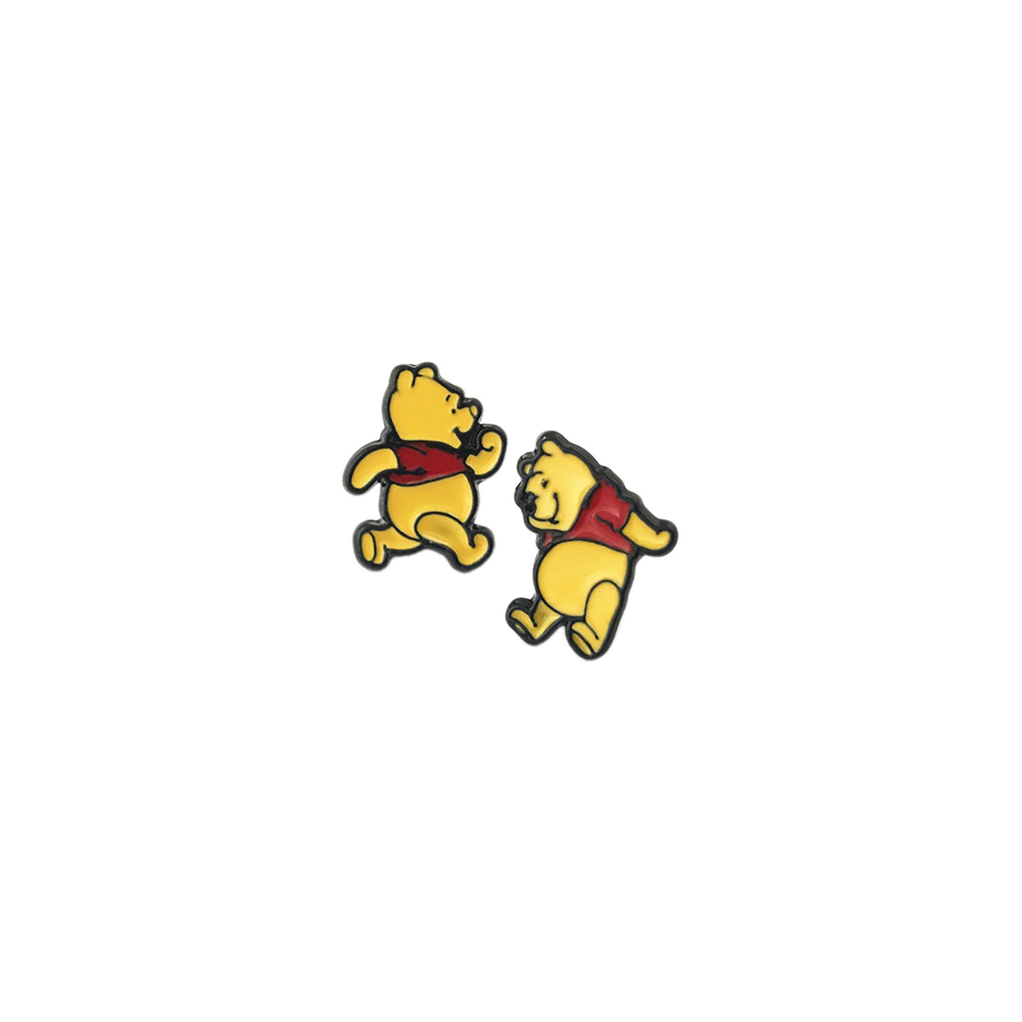Winnie The Pooh Silver Tone Cartoon Comic Logo Post Earrings w/Gift Box by Superheroes Brand