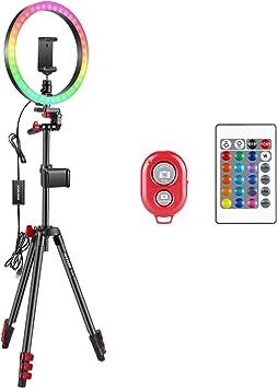 Todo para el streamer: Neewer Anillo Luz Selfie con Luz de Anillo RGB 12 Pulgadas con Soporte para Trípode y para Teléfono Control Remoto por Infrarrojos 16 Colores Regulables y 4 Modos Flash para Maquillaje Youtube Tiktok