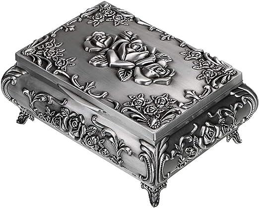 Silver Vintage Round Jewellery Keepsake Trinket Storage Box Tin Favourite Things