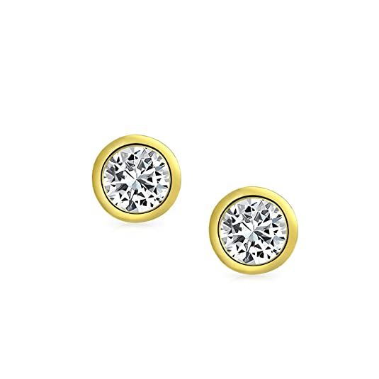 9f85a685018a Bling Jewelry Hombre Unisex Biel Oro Vermeil Conjunto Corte Redondo CZ stud  Arete 5mm  Amazon.es  Joyería