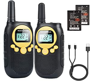 Walkie Talkies for Adults Rechargeable Two Way Radio 5 Miles Long Range with Flashlight 22CH 0.5W Easy to Use Yellow FRS License Free Radios,Camping Accessoies Walkie for Family Outdoor Activities