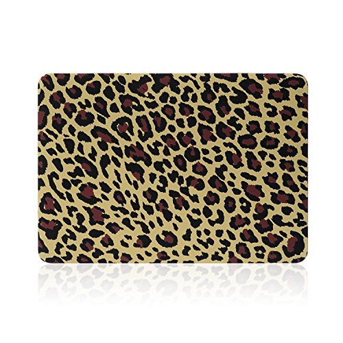 """2 in 1 Macbook Pro 15 Retina Display Case TECOOL® Frosted Matte Snap-on hard Shell Plastic Case Cover Skins and Silicone Keyboard Cover with TECOOL® Mouse Pad for MacBook Pro 15"""" With Retina Display Model: A1398(Yellow Leopard)"""