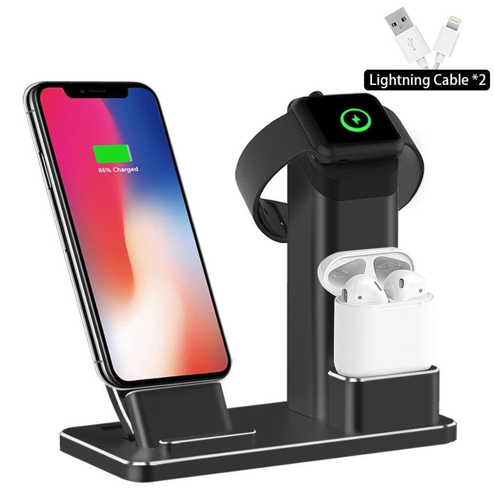 SHARKSBox Charging Stand Compatible iPhone Xs Max 3 in 1 Aluminum Charging Station Compatible AirPods Docks Holder Compatible with iPhone Xs/Apple Watch Series 3/2/1/ AirPods/iPhone X/8/8Plus -Black by SHARKSBox