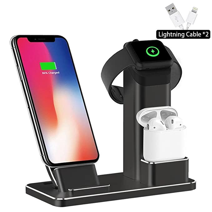 another chance 0e255 2468c SHARKSBox Charging Stand Compatible iPhone Xs Max 3 in 1 Aluminum Charging  Station Compatible AirPods Docks Holder Compatible with iPhone Xs/Apple ...
