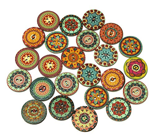 ALL in ONE Mixed Color Wood Buttons Vintage Buttons with 2 Holes for DIY Sewing Crafts (Round Shape 1 inch)