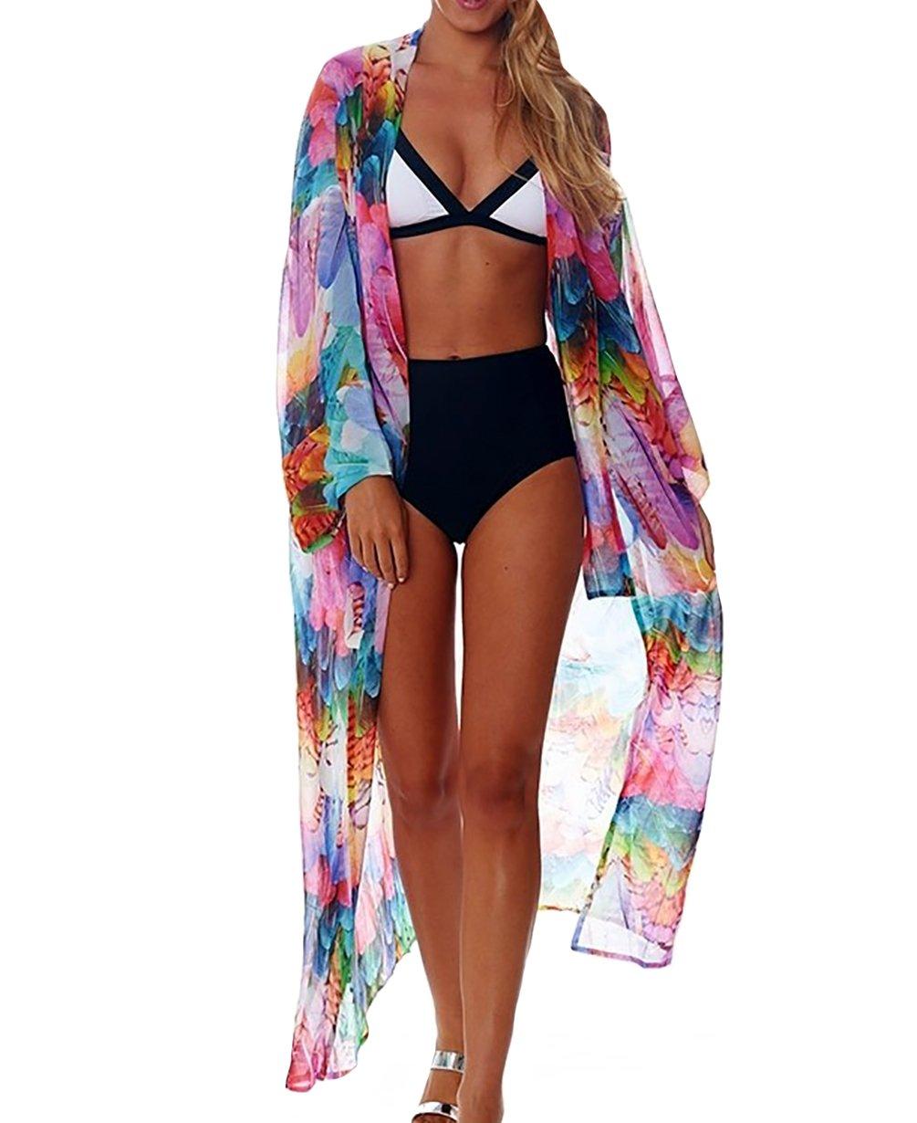 MeiLing Women's Printed Bathing Suit Cover up Dress Semi-Sheer Chiffon Kimono Cardigan Beachwear (Feather B)