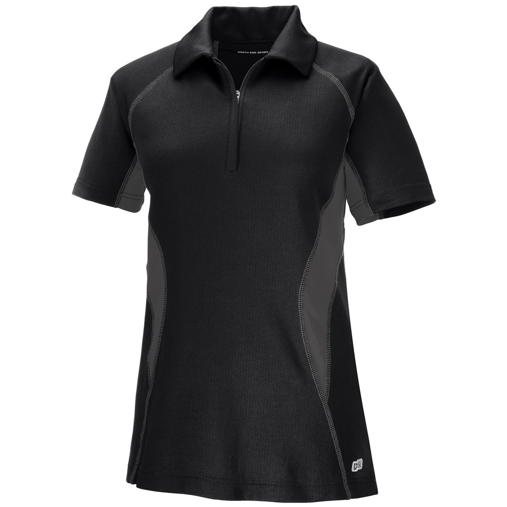 Ash City Womens Serac Performance Zipped Polo (X-Small, Black/Black Silk) by Ash City Apparel
