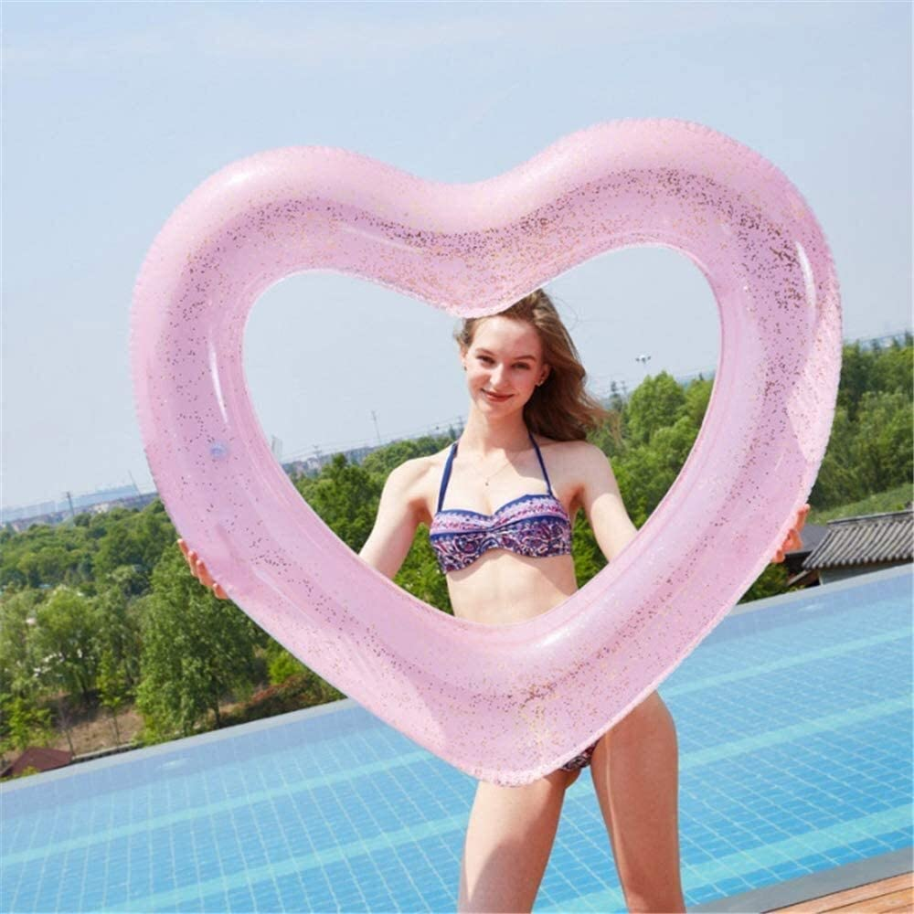 Sgsg Pool Inflatable Inflatable Water Hammock Floating Bed Heart Shaped Leisure Chair Thickened Pvc Drifting Pool Swimming Pool Beach Sports Outdoors