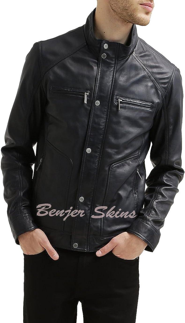 Mens Stylish Lambskin Genuine Leather Jacket 242