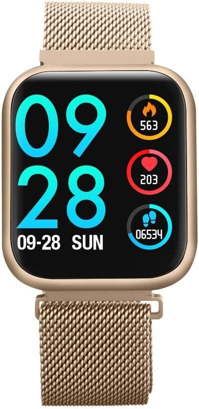 LLOOMMB Braccialetto Intelligente Smart Watch Donna Ip68 Impermeabile Schermo a sfioramento Completo Nuovo cardiofrequenzimetro Bracciale Fitness Uomo metallo dorato