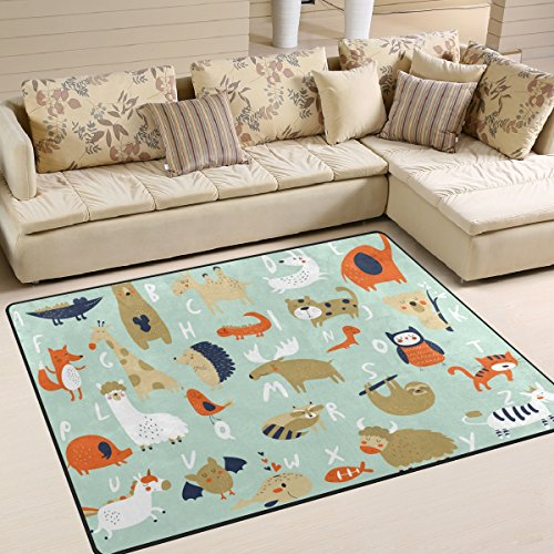 ALAZA Funny Alphabet ABC Elephant Tiger Sloth Area Rug Rugs for Living Room Bedroom 5'3 x 4'