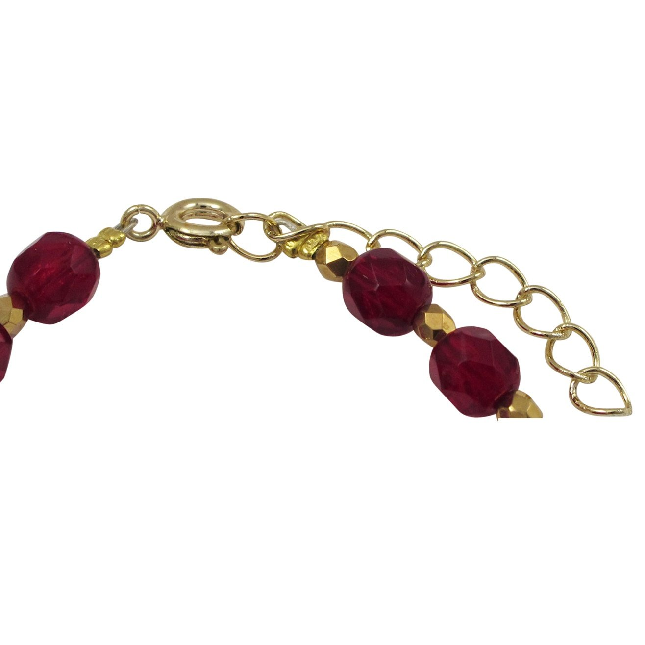 Ivy and Max Gold Finish Red Stones Beaded Girls Bracelet