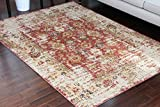 Cheap RUSTIC Collection Antique Style Wool Exposed Cotton and Jute Oriental Carpet Area Rug Rugs Charcol Rust Beige 7013 Red 5×7 6×8 5'2×7'4